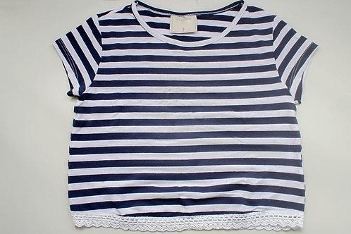 Blusa Listrada Azul Marinho e Branco Tam 6 Anos