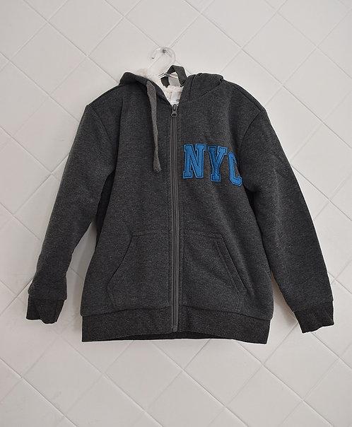 Casaco Infantil de Moleton Cinzal Escuro com Ziper e Capuz- NYC