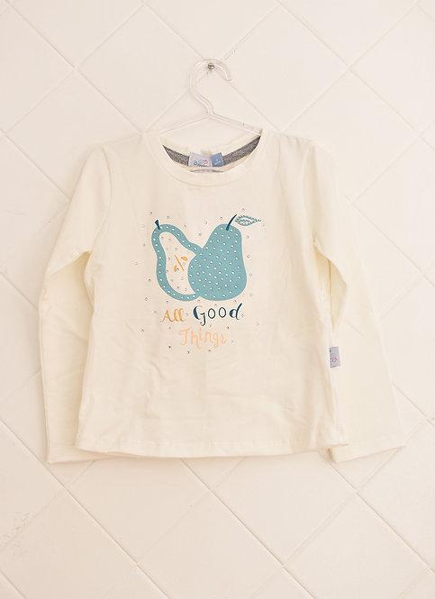 """Camiseta Manga Longa Infantil Com Estampa de Pera """"All Good Things"""" - Tam 3 Anos"""