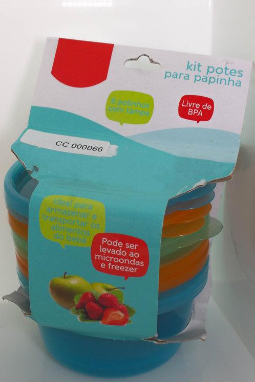 Kit 6 Potes para Papinha Pode levar ao Microondas e Freezer (180 ml cada)