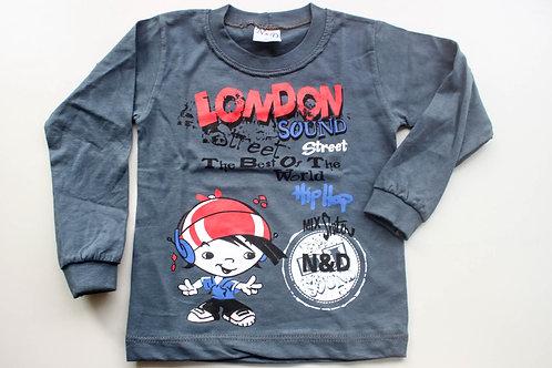 Camiseta Cinza London Manga Longa Tam 1 Ano