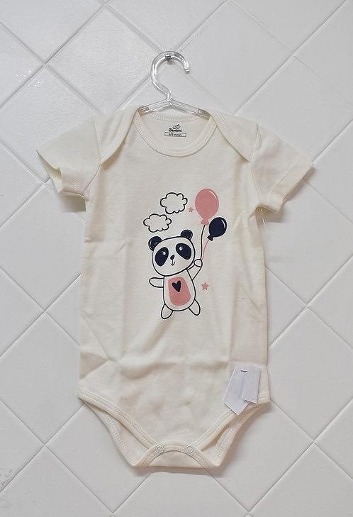 Body Bebê Creme com Estampa de Panda