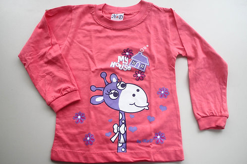 Camiseta Rosa Estampa Girafa  Manga Longa Tam 1 Ano