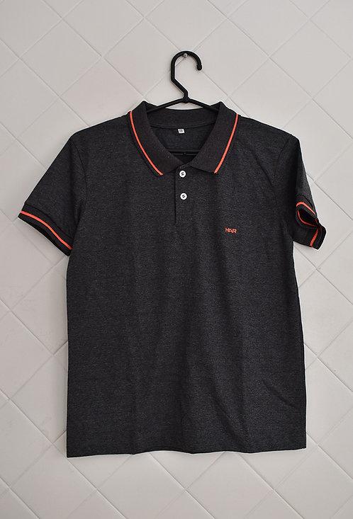 Camisa Polo Cinza com Listra Laranja na Gola e Manga - Tam 14 Anos
