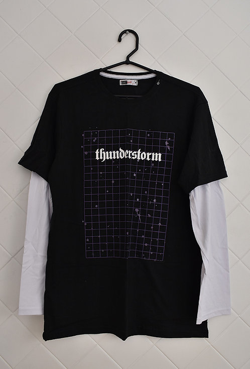 Camiseta Masculina Preta com Mangas Longas Brancas  - Thunderstorm