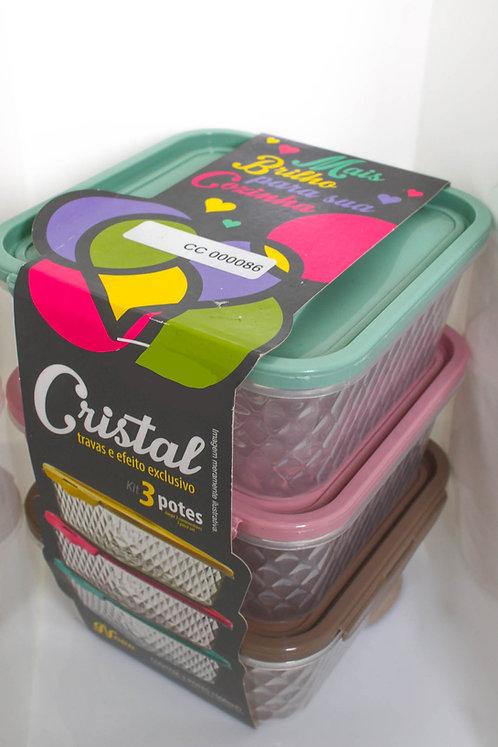 Kit 3 Potes com Tampas Coloridas