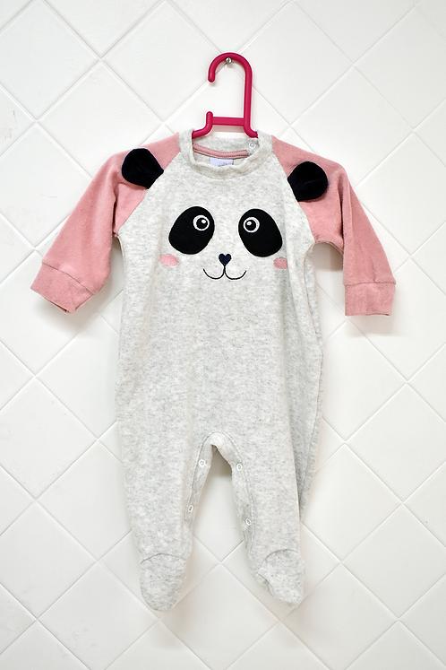Macacão Infantil Cinza com Manga Rosa e Estampa de Panda - Tam 6/9 meses