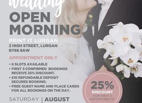 WEDDING OPEN MORNING!!!!