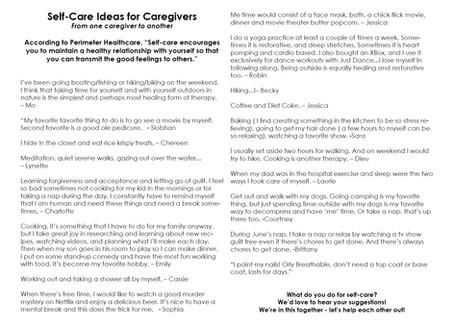 Self-Care Ideas for Caregivers