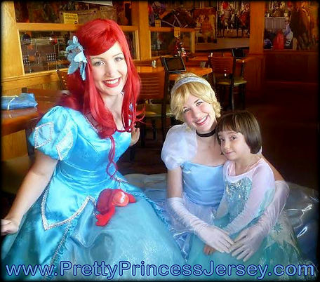 PrettyPrincessJersey's Glass Slipper Princess and Mermaid Princess are wonderful options for your next social gathering. Fans of The Little Mermaid and Cinderella love them!
