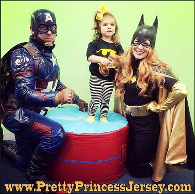 Captain America and Batgirl inspired characters for hire = American Captain Hero and Bat Hero Girl