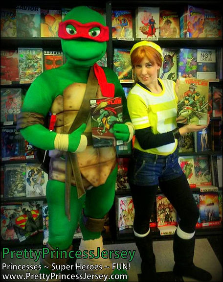 PrettyPrincessJersey offers mascot characters and themed helpers that are perfect for TMNT-themed parties and events!