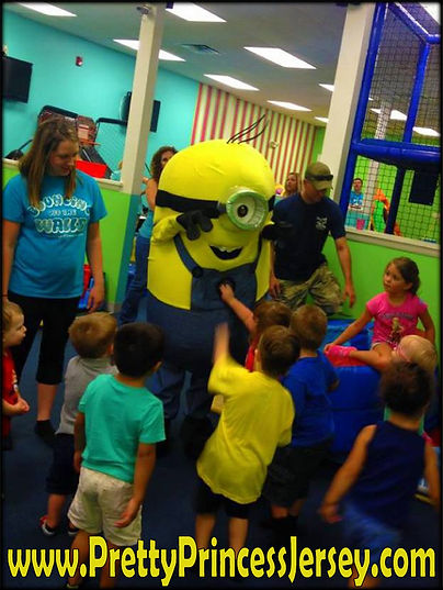 Despicable Me and Minion fans love PrettyPrincessJersey's One-Eye Yellow Guy mascot character. Available for parties and events, contact us at PrettyPrincessJersey@gmail.com to schedule an appearance!