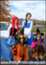 PrettyPrincessJersey's Mermaid Princess and Enchanted Rose Princess at a Halloween Parade. Add them to your next event!