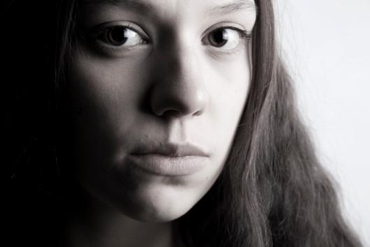 Black & white portrait of Amy Bullock