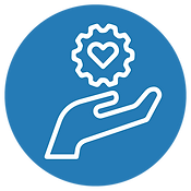 Blue circle with white icon of a hand holding a gear with a heart inside.