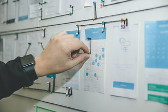 a hand placing a string on a wall that has various components indicating a mapping exercise