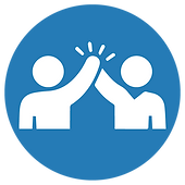 Blue circle with white iconic people giving a high-five