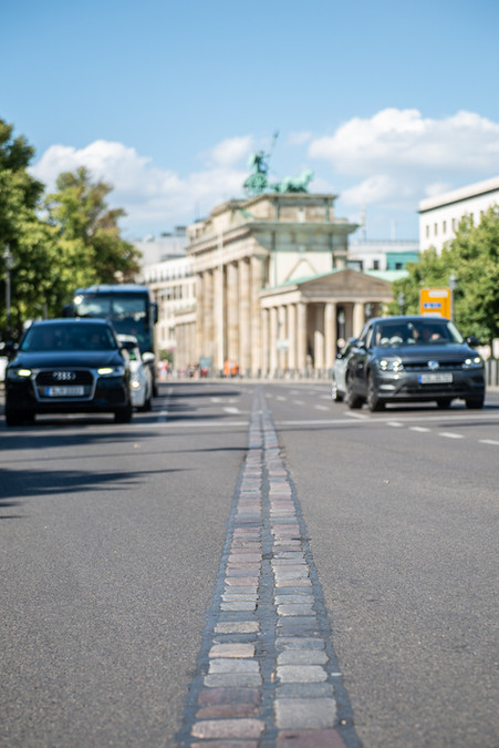 Brandenburg Gate with cobblestone denoting the former course of the Wall