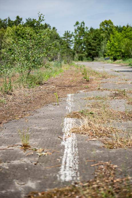 old road markings on a former highway bridge at Dreilinden