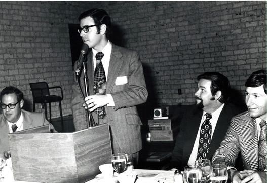 c. 1973: Houston Alumni Chapter, Wild Game Dinner, January 31, 1973. (L to R): Laurie (Lawrence?) Daniels, Grand Praetor; John O'Dell, chapter advisor at Houston, Bill Mills, Sam Houston '60, (38th HAC President), and Jay Hagins, Texas Tech '68, the new (39th) Houston alumni president.