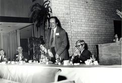 c. 1973: Houston Alumni Chapter, Wild Game Dinner, January 31, 1973. Critchell Parsons, 1932 International Balfour Award winner addresses the gathering.