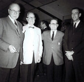 c. 1962: Houston Alumni Chapter, unidentified function, January 1962.( L to R): Jack E. Fore, Texas '22 (6th HAC Chapter President), Richard Sharp, Kansas '13, (19th HAC Chapter President), Donald E. Walker, and Wayne Dessens.