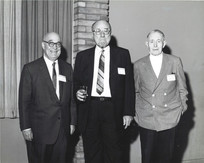 """c. 1960's: Houston Alumni Chapter, Wild Game Dinner, Sagewood Country Club, Houston, late 1960s. (L to R): Semi Century Sigs Bill Knight, Jack Fore, Texas '22 (6th HAC President), and Dr. W. M. """"Red"""" Stevenson, Ohio State '22, (17th HAC President). Dr. Stevenson was the sole founder of the Wild Game Dinner gathering, dating back to the late 1930's."""