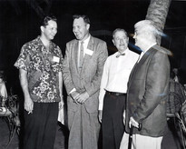 c. 1959: Houston Alumni Chapter Hawaiian Party at Shamrock Hilton, September 9,1959. (L to R): Rod Morgan, Western Reserve '50 (resident manager of the hotel); Vernon S. Kirk, Oklahoma State '49; Grand Trustee Richard W. Sharp; Louis Bonner, Texas '30, 26th President of the Houston Alumni Chapter.
