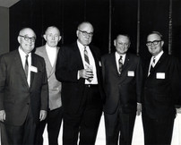 """c. 1960's: Houston Alumni Chapter, Wild Game Dinner, Sagewood Country Club, Houston, late 1960s. (L to R): W.J. Knight, Arkansas '20 (5th HAC President), Dr. """"Red"""" Stephenson, Ohio State '22 (17th HAC President and founder of WGD), Jack Fore, Texas '22 (6th HAC President), 44th Grand Consul Floyd Baker, and Grand Praetor Milton Jackson."""