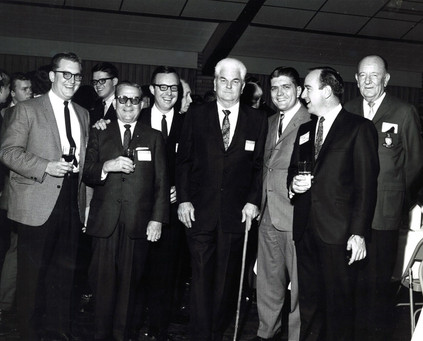 c, 1960's: Houston Alumni Chapter, Wild Game Dinner, Sagewood Country Club, Houston, late 1960s. (L to R): Glen Wharmund, Grand Trustee Don Walker, Ed Hill, Texas '5, (34th HAC President); Louis Bonner, Texas '30, (26th HAC President); Stan Henderson, Texas '59 (30th HAC President); Tom Burke, Sam Houston '54 (32nd HAC President); and Hurley Hust, Arkansas '22 (29th HAC President).