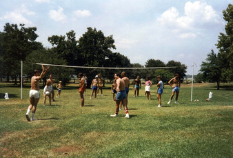 c. 1985: Houston Alumni Chapter Alumni Picnic, Bud Adams Ranch, Waller, Texas, July 27, 1985. Volley Ball Game.