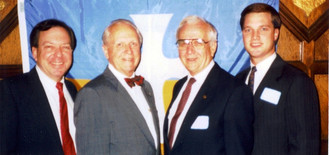 c. 1990: Houston Alumni Chapter, Wild Game Dinner. (L to R): Dick Burns, Miami-Florida '69, 55th HAC President; Keynote Speaker and 51st Grand Consul, George H. Jones, LSU '42; Bob Marshall, LSU '43; Assistant HAC Chapter president and 1990 Ritual Dinner Chair, Dean Austin, Texas '88, (later became the 64th HAC President).