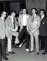 c. 1972: Houston Alumni Chapter, Newly elected 1972 officers of the Houston Alumni Chapter are, (L to R): Secretary David G. Allums, Texas '63; Treasurer William H. Knight, Houston '69; President Bill E. Mills, Sam Houston '60; Second Vice President Jay Hagins, Texas Tech '68; and First Vice President Jack E. Kirby, Oklahoma State '46. Brother Knight went on to become the 41st HAC President, and Brother Hagins went on to become the 39th HAC President.