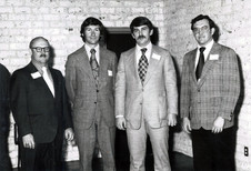 c. 1973: Houston Alumni Chapter, Wild Game Dinner, January 31, 1973. New chapter officers,( L to R): Jim Kerbow, Texas Tech '67, Treasurer; Jay Hagins, Texas Tech '68, President; Bill Knight, Houston '67, 2nd V.P.; Gerard Stafforrd, Sam Houston, Secretary. Note: Brothers Kerbow went to become the 42nd HAC President, Hagins the 39th HAC President.