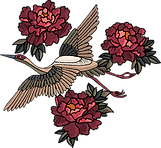 Bestickt Vogel und Blumen