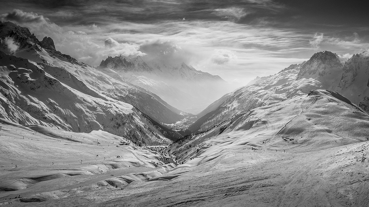 CHAMONIX FROM DOMAINE DU TOUR by Paul Langford.jpg