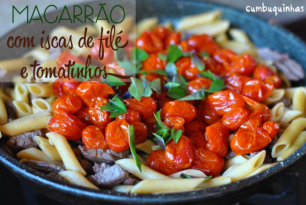 macarrao com iscas de file e tomate assado cumbuquinhas