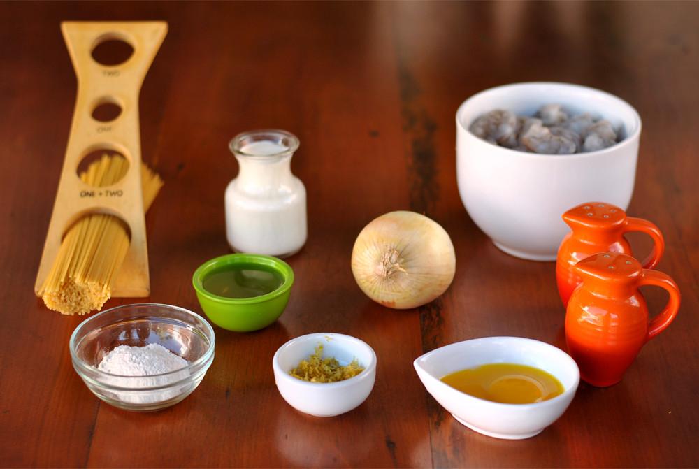 ingredientes macarrao molho de camarao