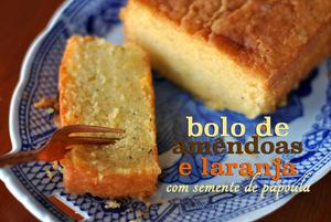 bolo de laranja amêndoa se semente de papoula