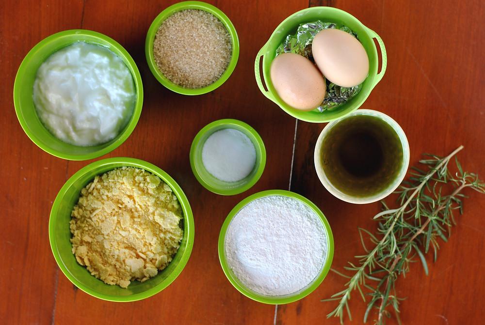 ingredientes muffin de alecrim cumbuquinhas