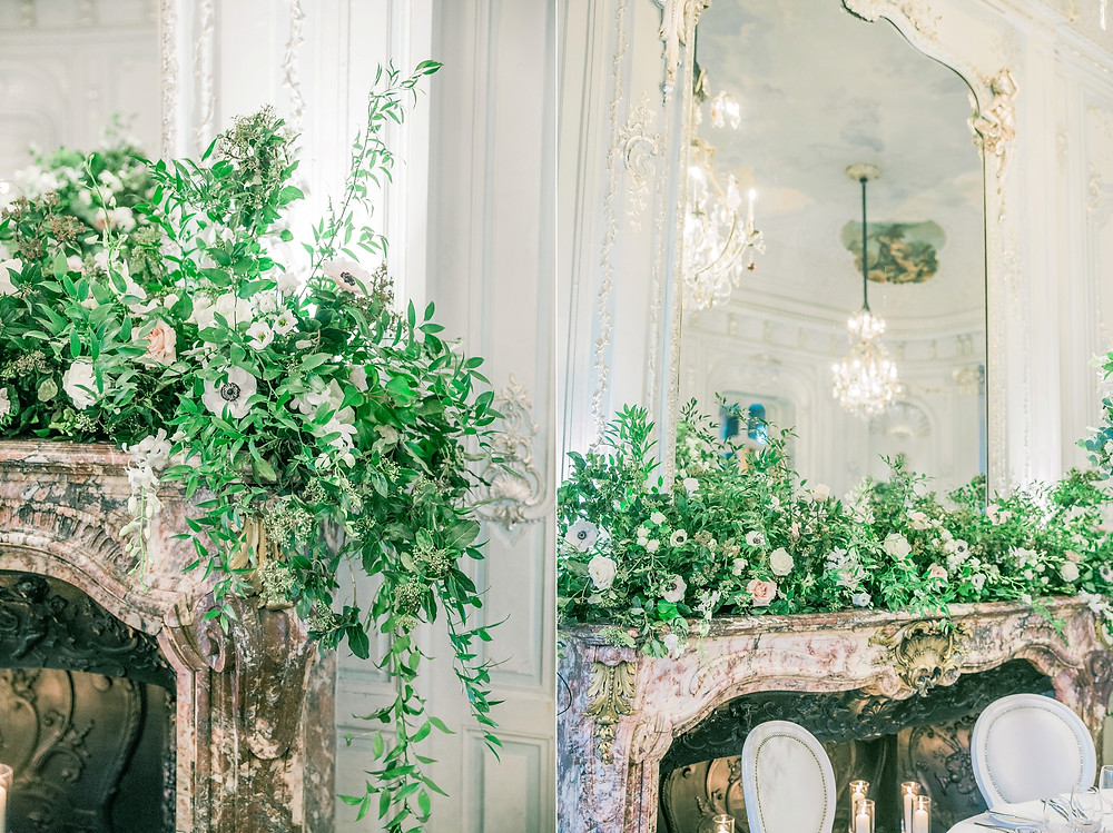 Close up of wild fireplace arrangement at The Savile Club by Emma Soulsby Flowers featuring lots of foliage, white roses and anemones