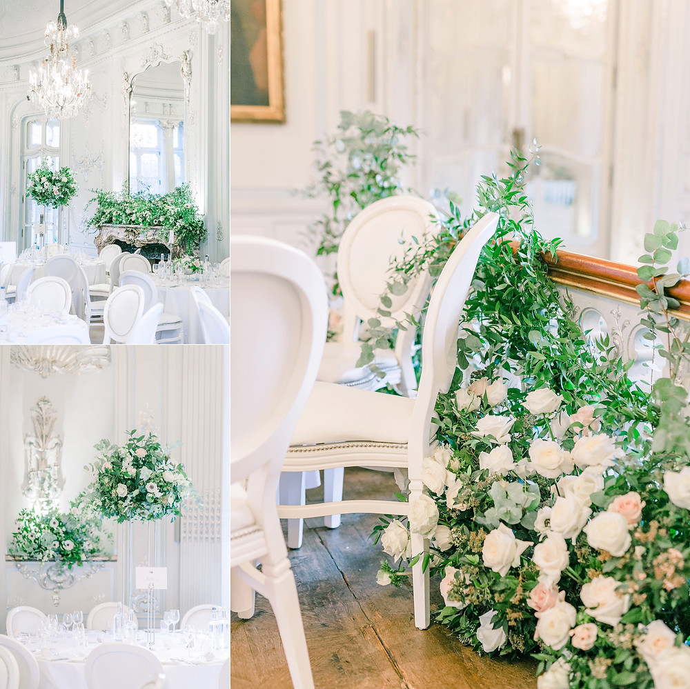 Collage of images of dining room at The Savile Club with luxury white floral arrangements by Emma Soulsby