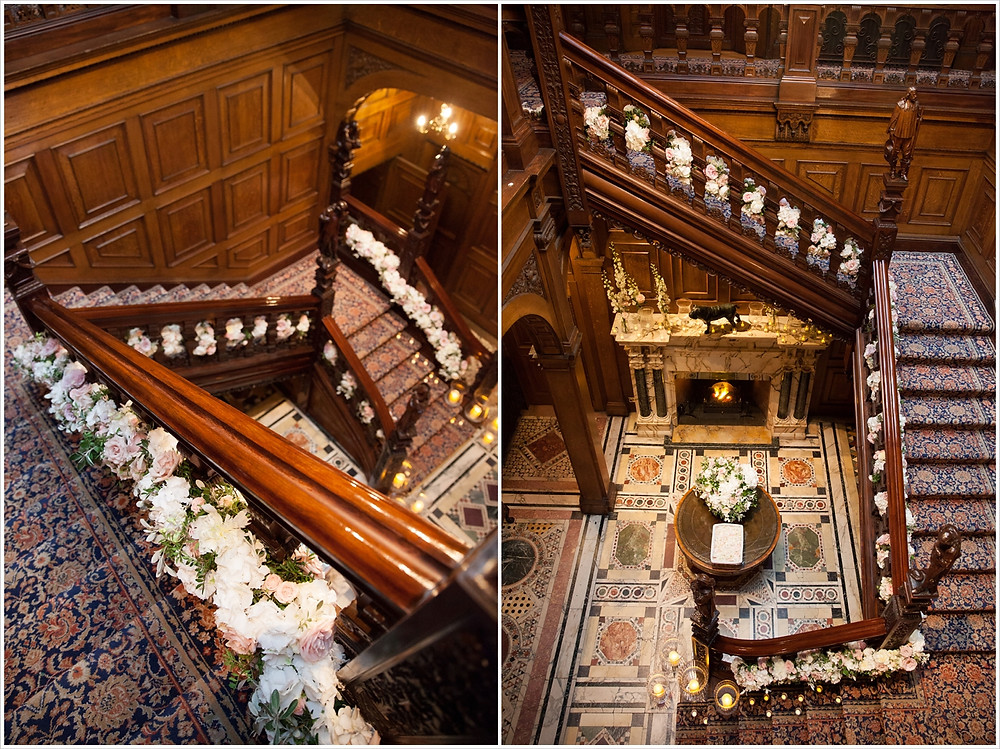 Two images of the staircase at Two Temple Place adorned with flowers