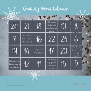 Graphic of Creativity Advent Calendar with some of the doors open