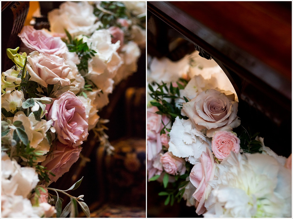 Close ups of roses, astilbe and peonies used in staircase installation at Two Temple Place