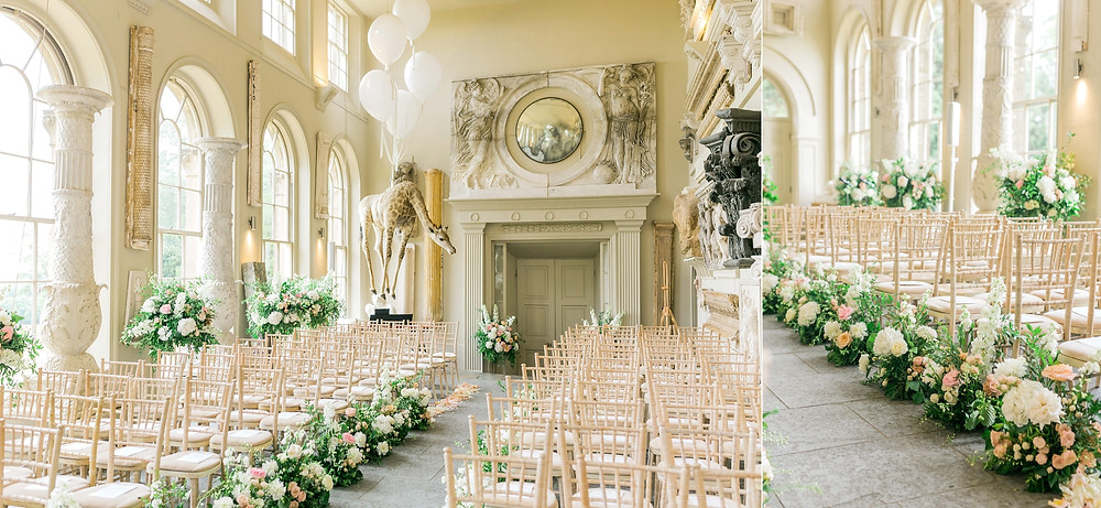 Aynhoe Park orangery with aisle meadow of white and peach flowers