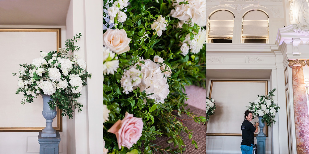 three images of flowers at Kimpton Fitzroy. Luxury florist Emma Soulsby arranging an urn of white hydrangeas
