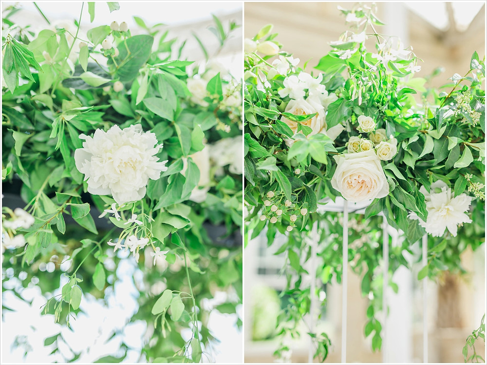 Close up shots of the flowers involved in a hanging installation at Syon Park. Peonies, cream roses and jasmine blossoms sit among fresh green foliage.