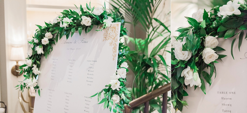 Table plan decorated with foliage and white roses